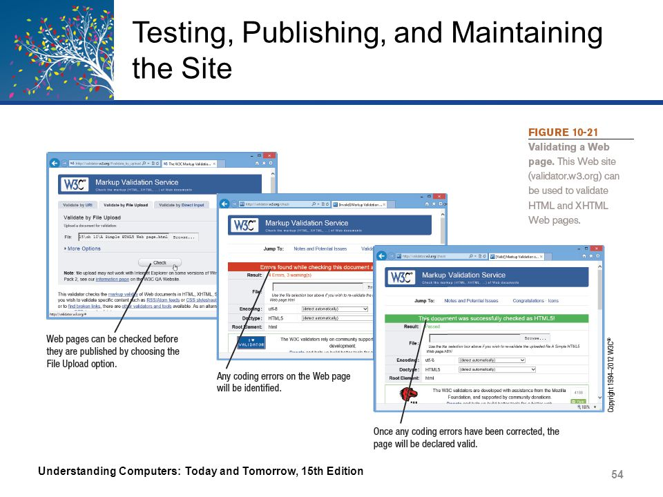 Testing, Publishing, and Maintaining the Site Once thoroughly tested, Web site is ready to be published – Identify Web server – Upload files After publishing, the Web site must be maintained – Update content and check links on a regular basis – Site should be evaluated on a regular basis to locate areas needing improvement Understanding Computers: Today and Tomorrow, 15th Edition 55