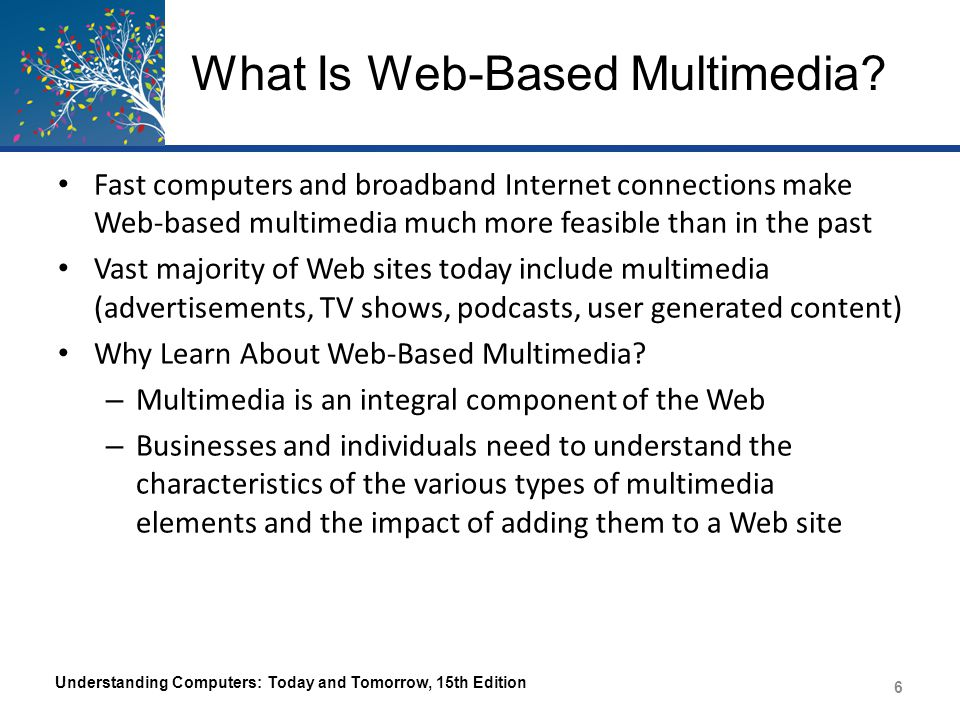 Web-Based Multimedia Applications Information Delivery – Photos of products, video clips and podcasts, and users' manuals are used to convey information – Important component in Web-based training (WBT) E-Commerce – Online catalogs, samples of movies and music, etc.