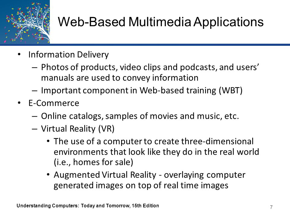 Web-Based Multimedia Applications Entertainment – Online TV/movies and games are available through TV network sites Social Media and Virtual Worlds – Photos and videos on many social networking sites – 3D Virtual Worlds (Second Life) Understanding Computers: Today and Tomorrow, 15th Edition 8