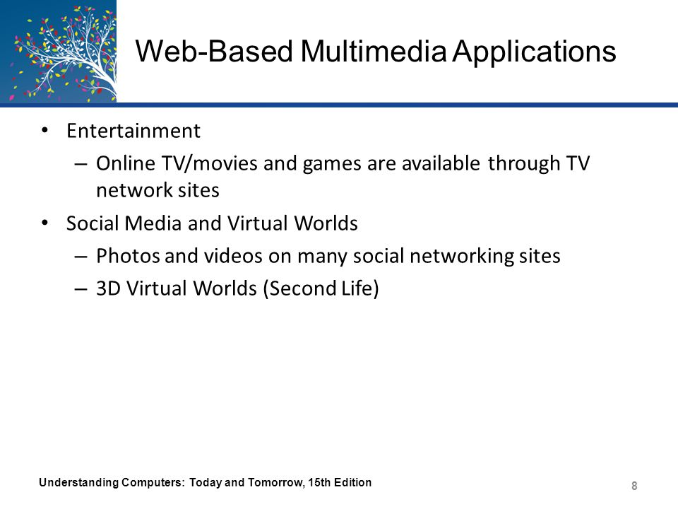 Web-Based Multimedia Applications Understanding Computers: Today and Tomorrow, 15th Edition 9