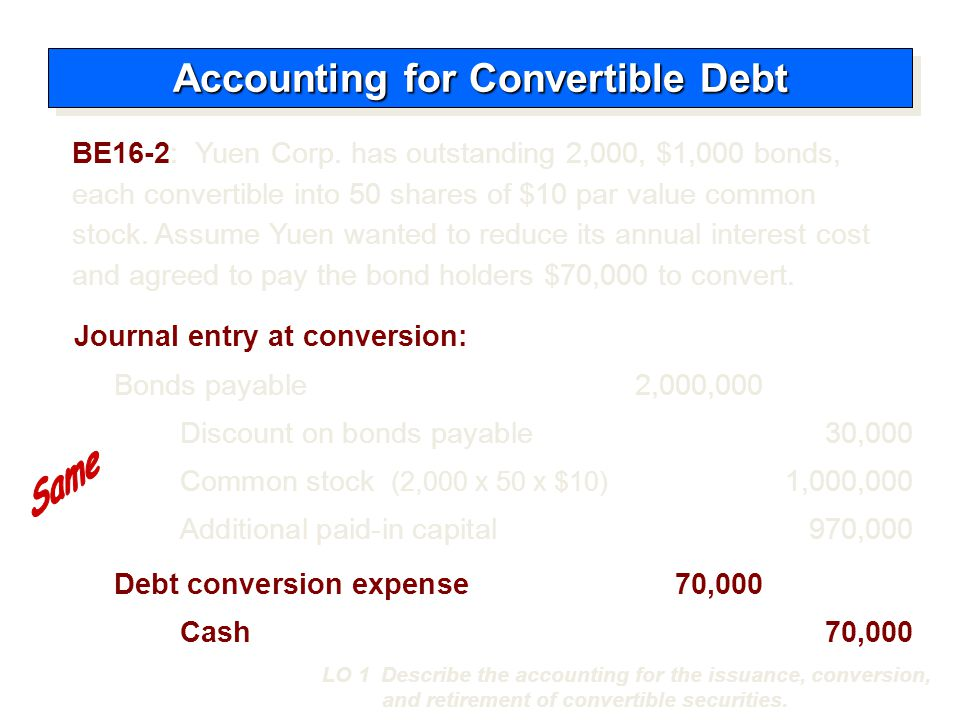  Recognized same as retiring debt that is not convertible.