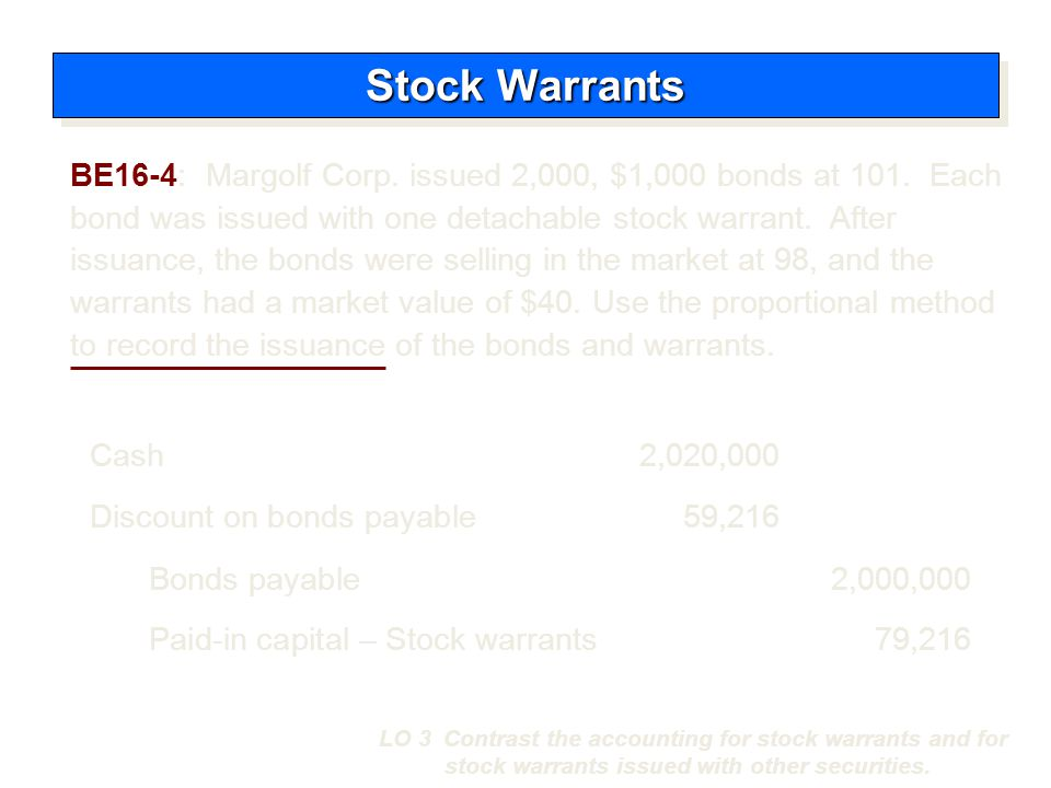 Incremental Method Stock Warrants LO 3 Contrast the accounting for stock warrants and for stock warrants issued with other securities.