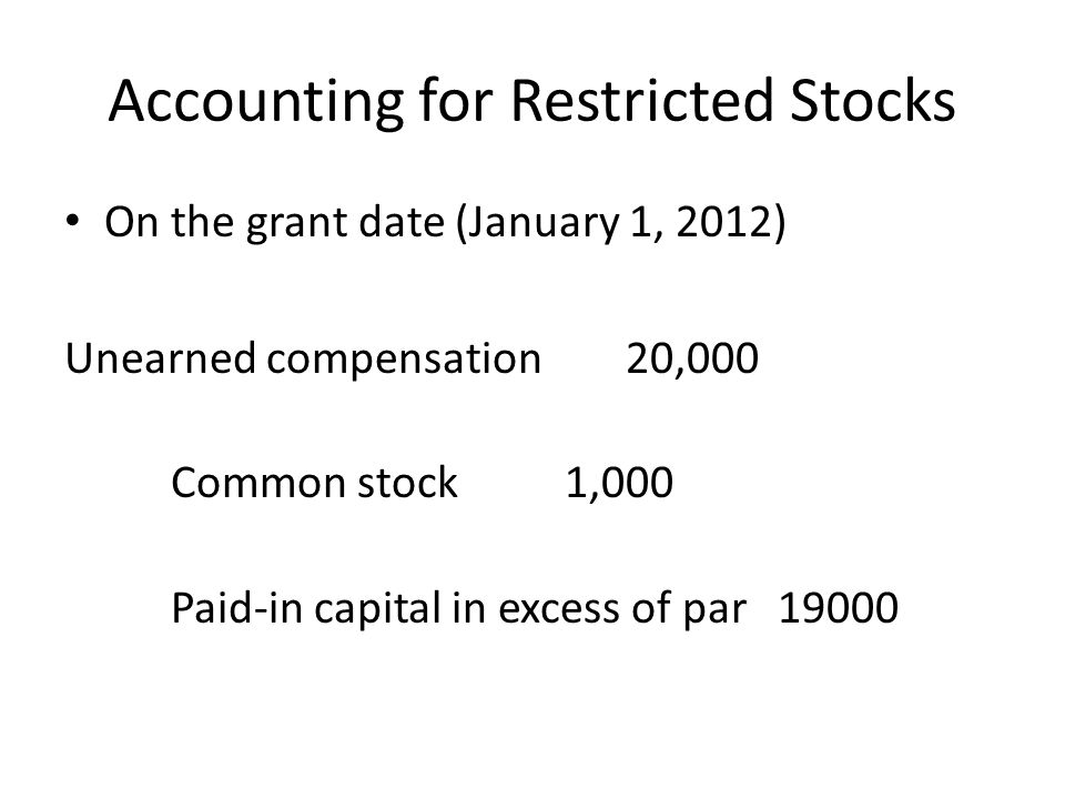 Accounting for Restricted Stocks On December 31, 2012, if DeGeorge is still with the firm, then Compensation expense 4,000 Unearned compensation 4,000