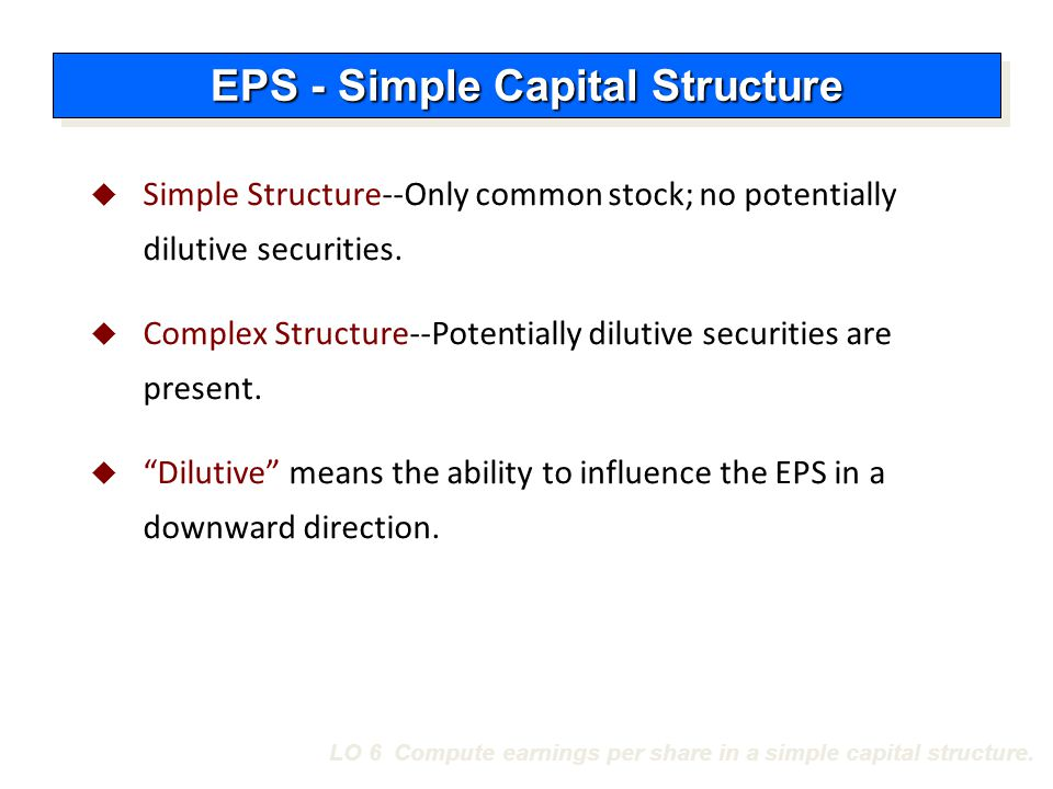 LO 6 Compute earnings per share in a simple capital structure.