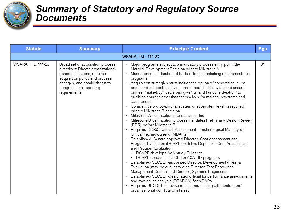 Summary of Statutory and Regulatory Source Documents 34 StatuteSummaryPrinciple ContentPgs FY10 NDAA, P.L.