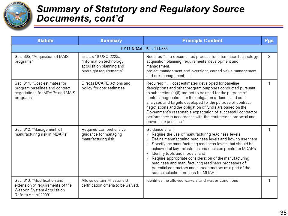 Summary of Statutory and Regulatory Source Documents, cont'd 36 StatuteSummaryPrinciple ContentPgs FY11 NDAA, P.L.