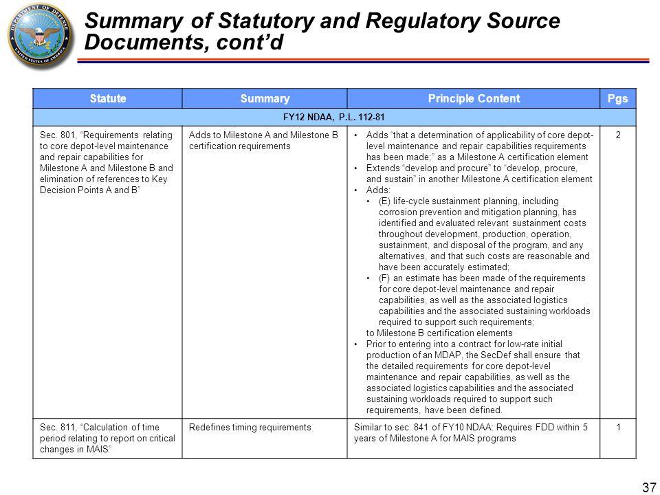 Summary of Statutory and Regulatory Source Documents, cont'd 38 StatuteSummaryPrinciple ContentPgs FY12 NDAA, P.L.