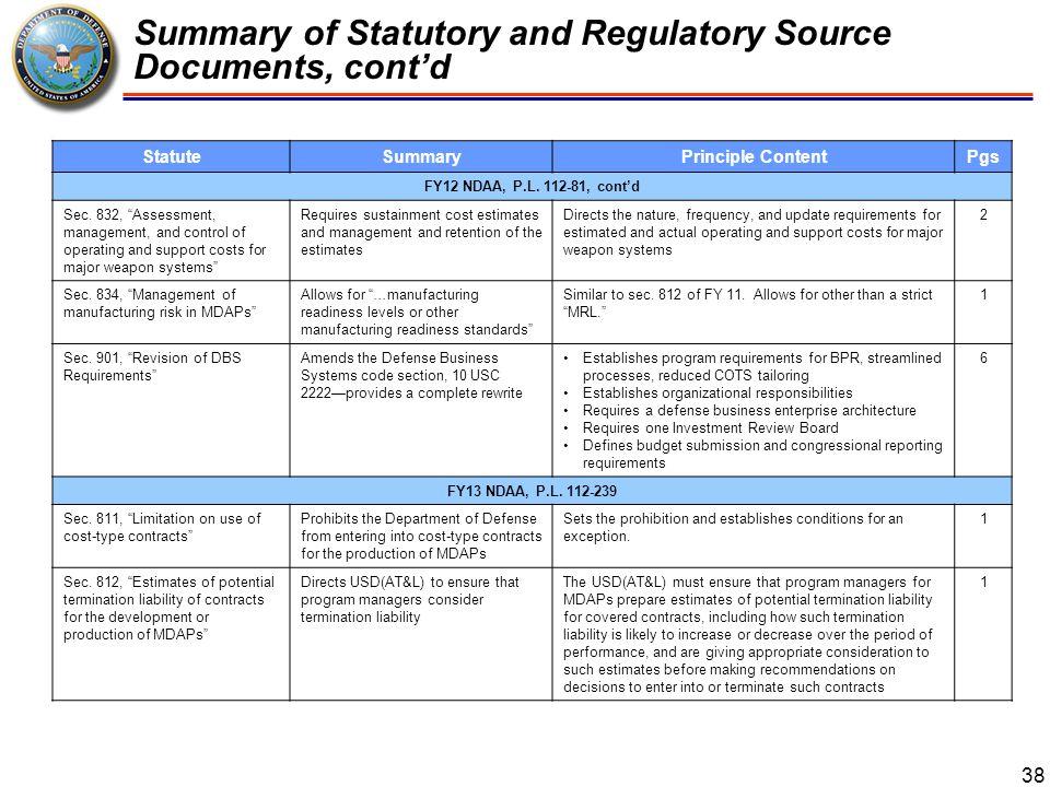 Summary of Statutory and Regulatory Source Documents 39 StatuteSummaryPrinciple ContentPgs FY13 NDAA, P.L.