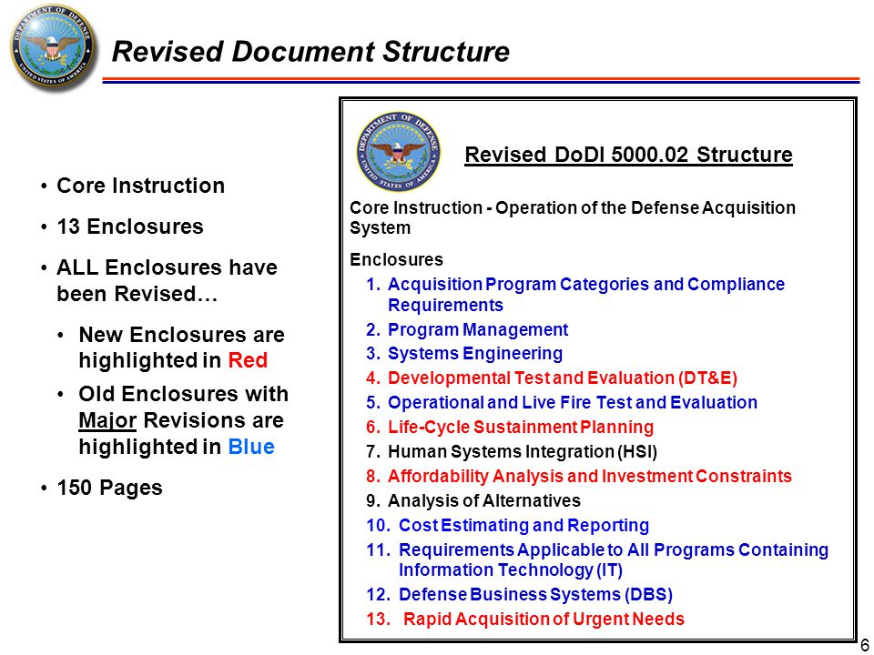 Document Comparison 7 2013: Core Instruction - Operation of the Defense Acquisition System Enclosures Acquisition Program Categories and Compliance Requirements Program Management Systems Engineering Developmental Test and Evaluation (DT&E) Operational and Live Fire Test and Evaluation Life-Cycle Sustainment Planning Human Systems Integration (HSI) Affordability Analysis and Investment Constraints Analysis of Alternatives Cost Estimating and Reporting Requirements Applicable to All Programs Containing Information Technology (IT) Defense Business Systems (DBS) Rapid Acquisition of Urgent Needs Page Count: 150 pages 2008: Enclosures Procedures Acquisition Category (ACAT) and Milestone Decision Authority (MDA) Statutory and Regulatory Information and Milestone Requirements Program Management Systems Engineering Integrated T&E Human Systems Integration Resource Estimation IT Considerations Management of Defense Business Systems Acquisition of Services † Page Count: 80 pages * New or Deleted text, in red; major changes and additions, blue † Acquisition of Services policy removed from DoDI 5000.02; under revision for re-issuance as a separate 5000-series publication