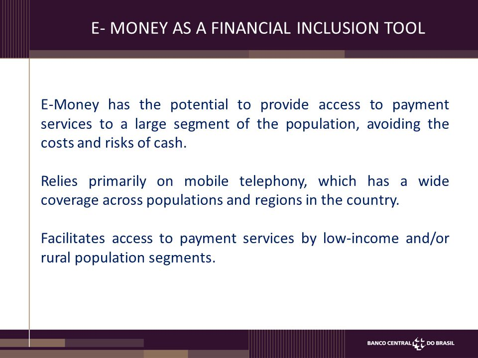E-MONEY LAW Purpose: Regulation of the issuance of e-money and for EEDEs.
