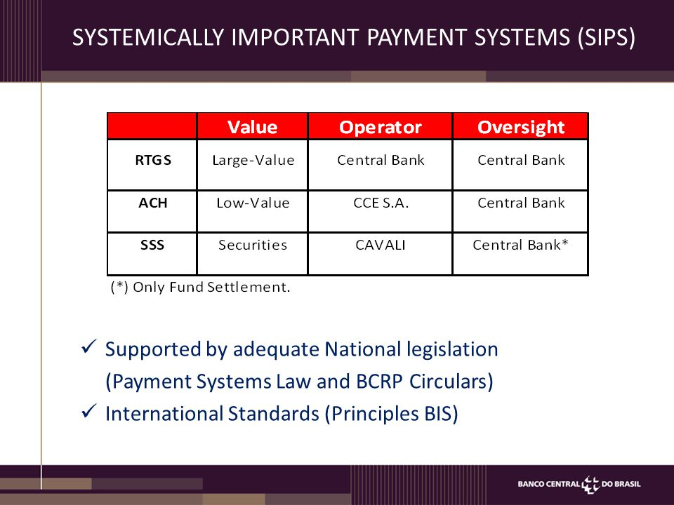 SYSTEMICALLY IMPORTANT PAYMENT SYSTEMS (SIPS)