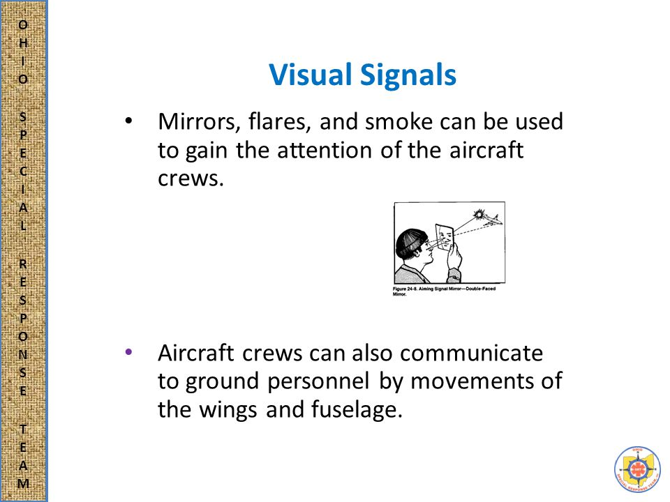 Visual Signals The following shall indicate understanding of the ground signal by the aircrew: in daylight, by rocking the wings left to right, and in darkness, by flashing on and off the navigation lights, landing lights or both.