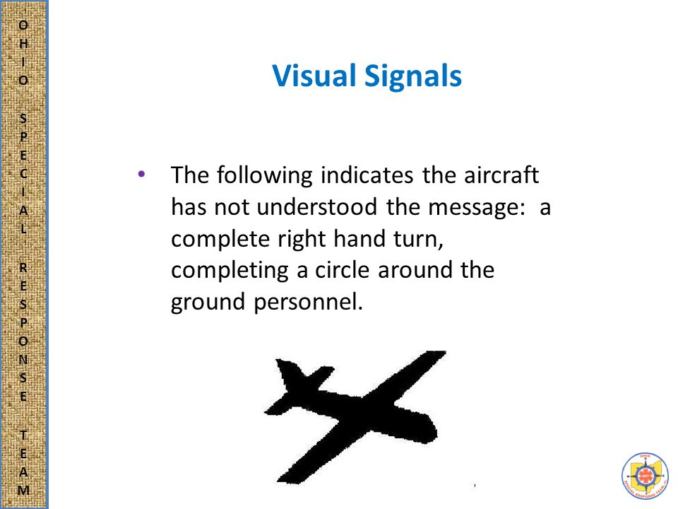 Visual Signals The following indicates a yes or affirmative reply: moving the nose of the aircraft up and down.