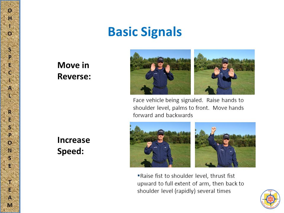 Basic Signals Face direction of movement, extend arm to rear and swing arm overhead.