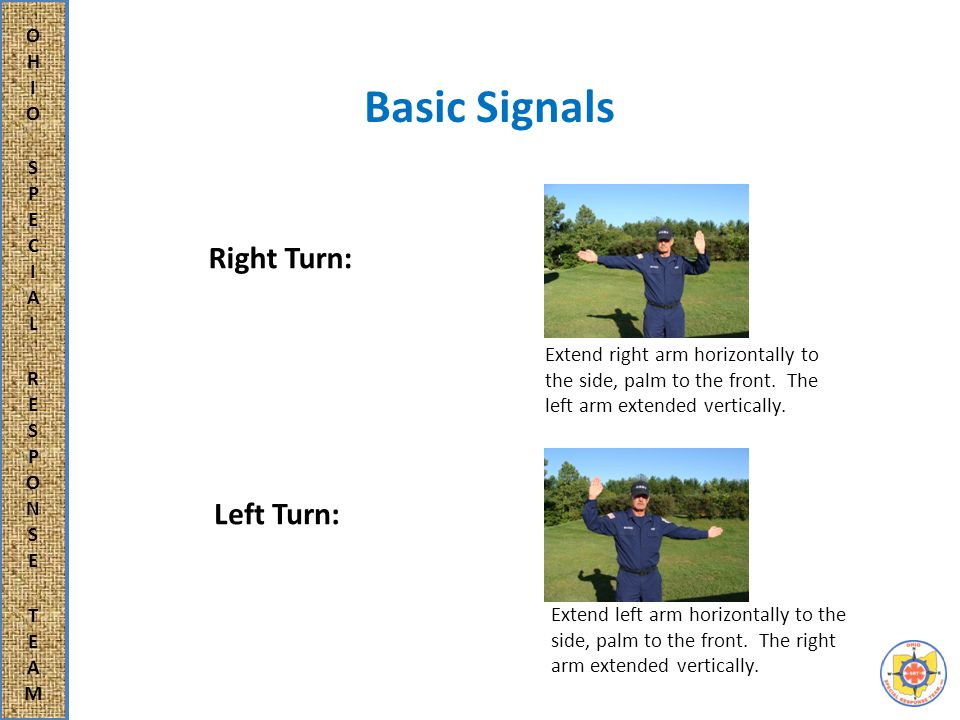 Rescue Three International Signals Hand signals for communication in rescue situations with both victim and other rescuer: Need Help - Both arms crossed in front of the chest.