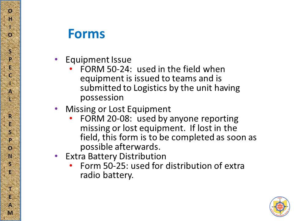 Forms Radio Communication Log FORM 50-23: used for each radio transmission.