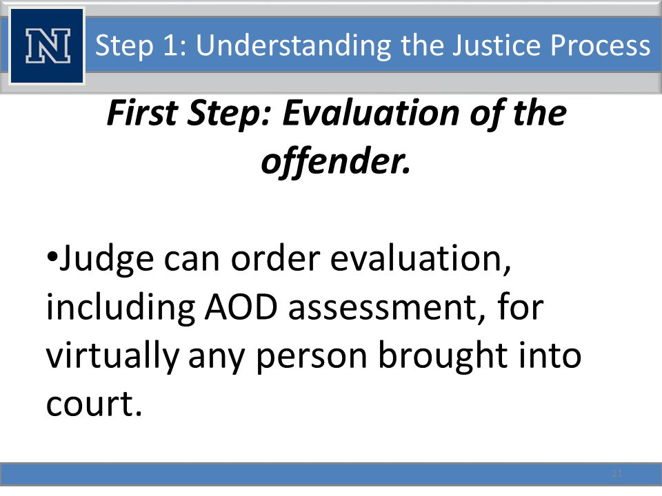 Step 1: Understanding the Justice Process Possible side-door out 1: Civil Commitment in lieu of sentence.