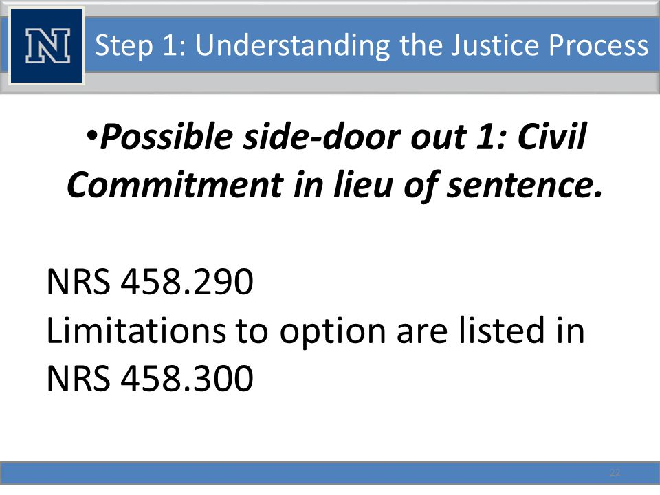Step 1: Understanding the Justice Process Possible side-door out 2: Person ordered to a program.