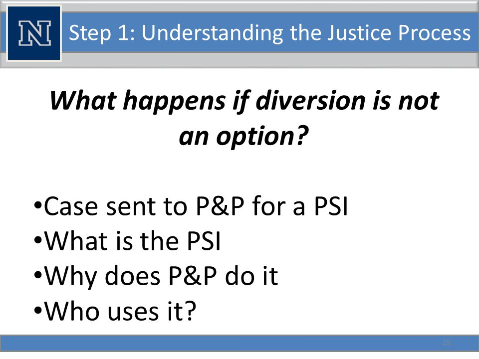 Step 1: Understanding the Justice Process Facts regarding the Nevada PSI: Like in most jurisdictions, P&P officers prepare the PSI.