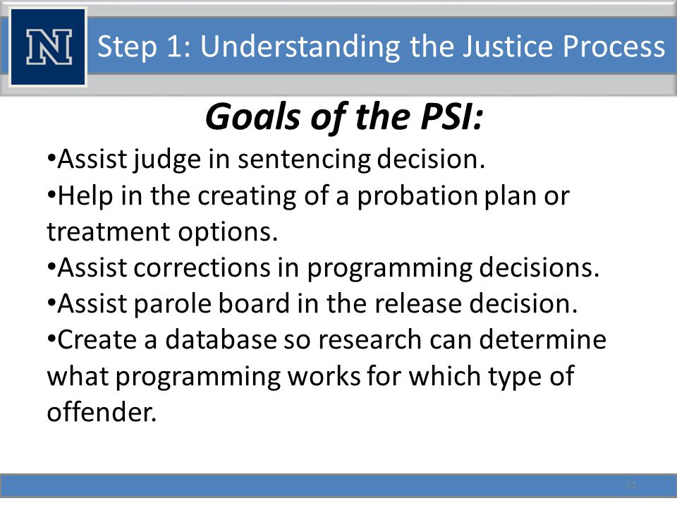 Step 1: Understanding the Justice Process Prison Powers related to Addictions. 32