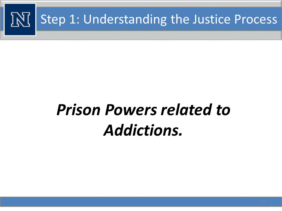 Step 1: Understanding the Justice Process Responses to these crimes: Nevada's Legislative Purpose (453.600) Protect and promote health, welfare, and safety of people of state by combating the effects of narcotic addiction and by assisting the rehabilitation of certain narcotic addicts through a comprehensive program of treatment.