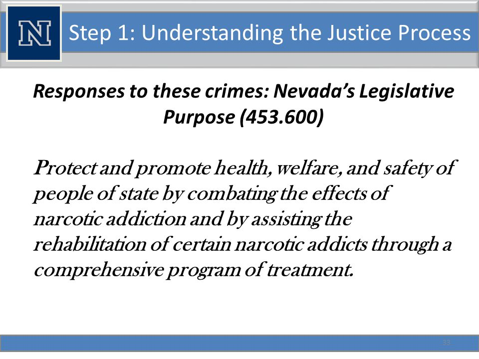 Step 1: Understanding the Justice Process Under these powers Nevada can: Include experimental programs.