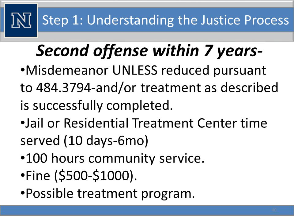 Step 1: Understanding the Justice Process Failure to complete constitutes a misdemeanor. 41