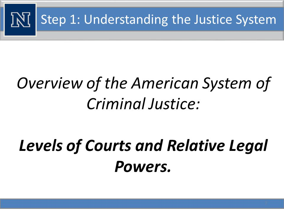 Step 1: Understanding the Justice System Overview of the American System of Criminal Justice: Adversarial vs.