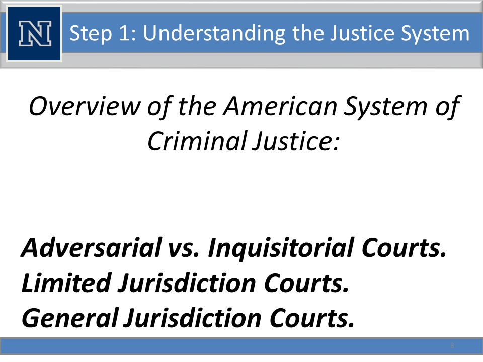 Step 1: Understanding the Justice System Overview of the American System of Criminal Justice: Record and non-record courts.