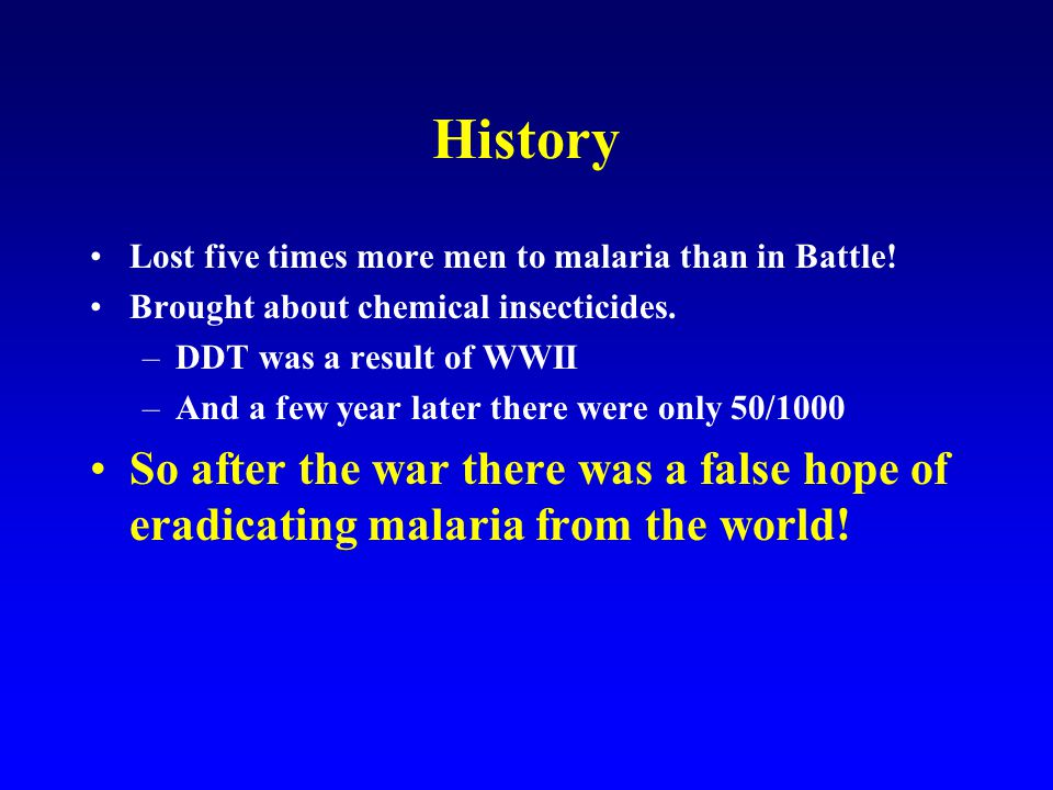 1946. WHO initiates program to eradicate malaria . History