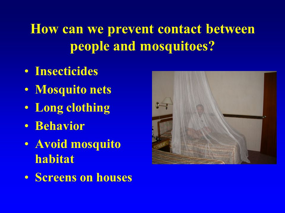 How can we prevent contact between people and mosquitoes.
