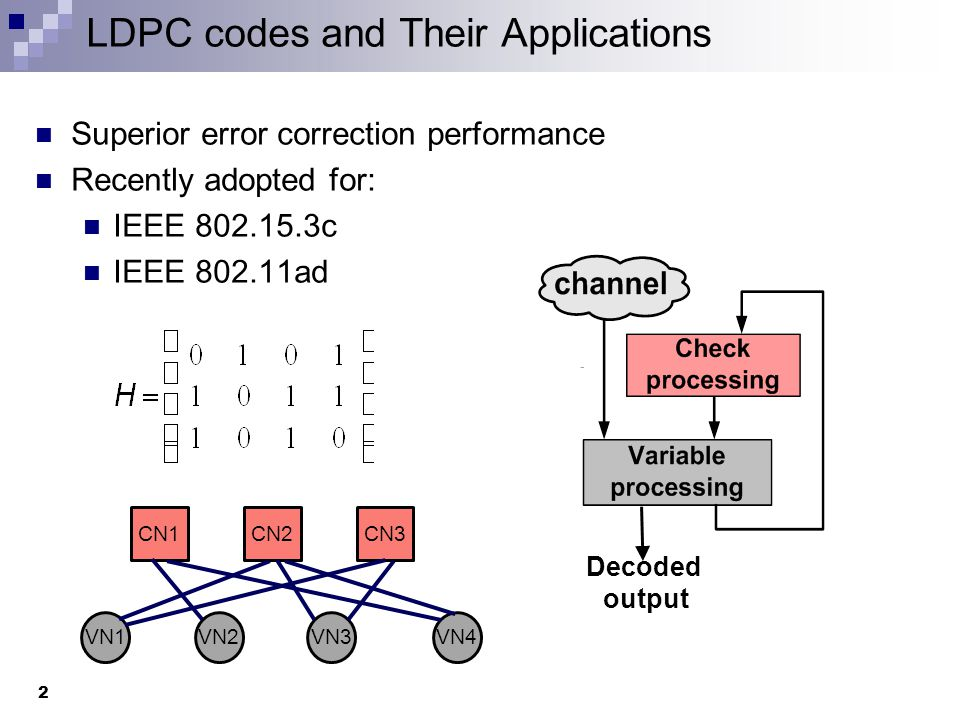 Partial-Parallel Decoders A subset of check and variable nodes are implemented in hardware Processing of the whole matrix done by changing interconnection between implemented nodes A network of muxes is utilized This interconnection network results in: Hardware overhead 1344 x 4:1 muxes for a (672,588) LDPC code High power dissipation All muxes toggle over every cycle Decline in throughput In critical path of the signals 3
