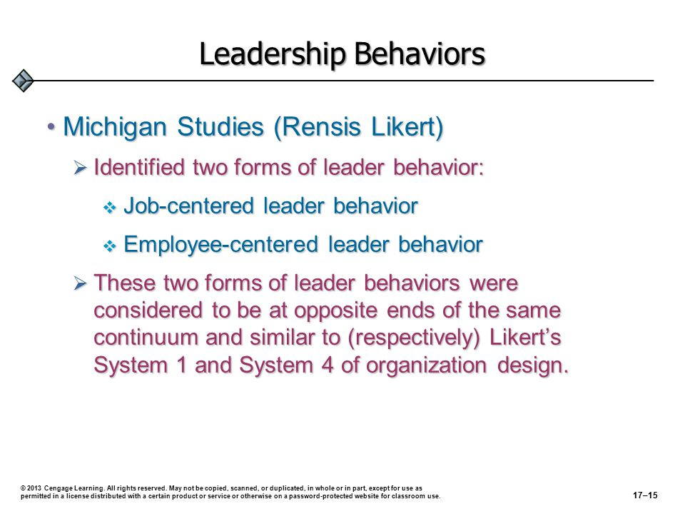 Leadership Behaviors (cont'd) Ohio State StudiesOhio State Studies  Did not interpret leader behavior as being one- dimensional as did the Michigan State studies.