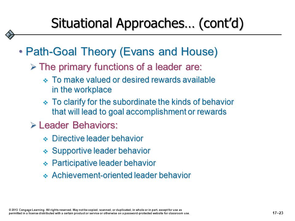 The Path-Goal Theory Situational Factors:Situational Factors: Work SituationLeadership StyleImpact on FollowersExpected Results Follower lacks self-confidence SupportiveIncreases self- confidence to complete task Increased effort.