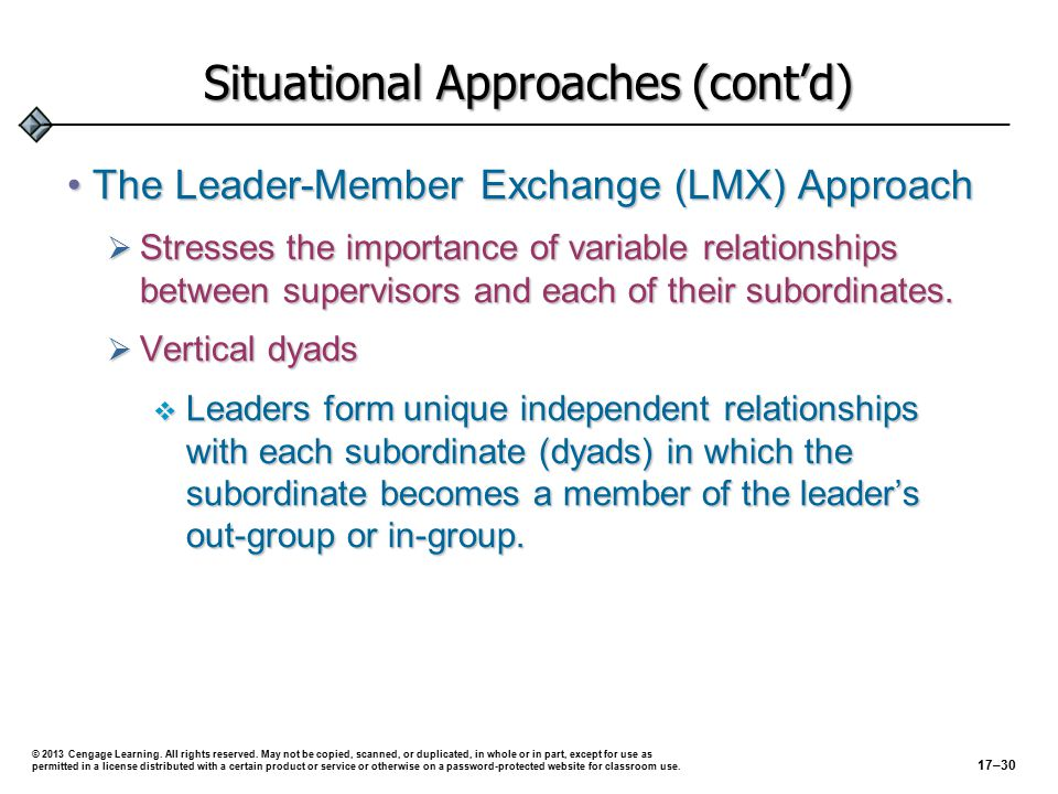 Leader Subordinate 1 2 3 4 5 Out-Group In-Group © 2013 Cengage Learning.