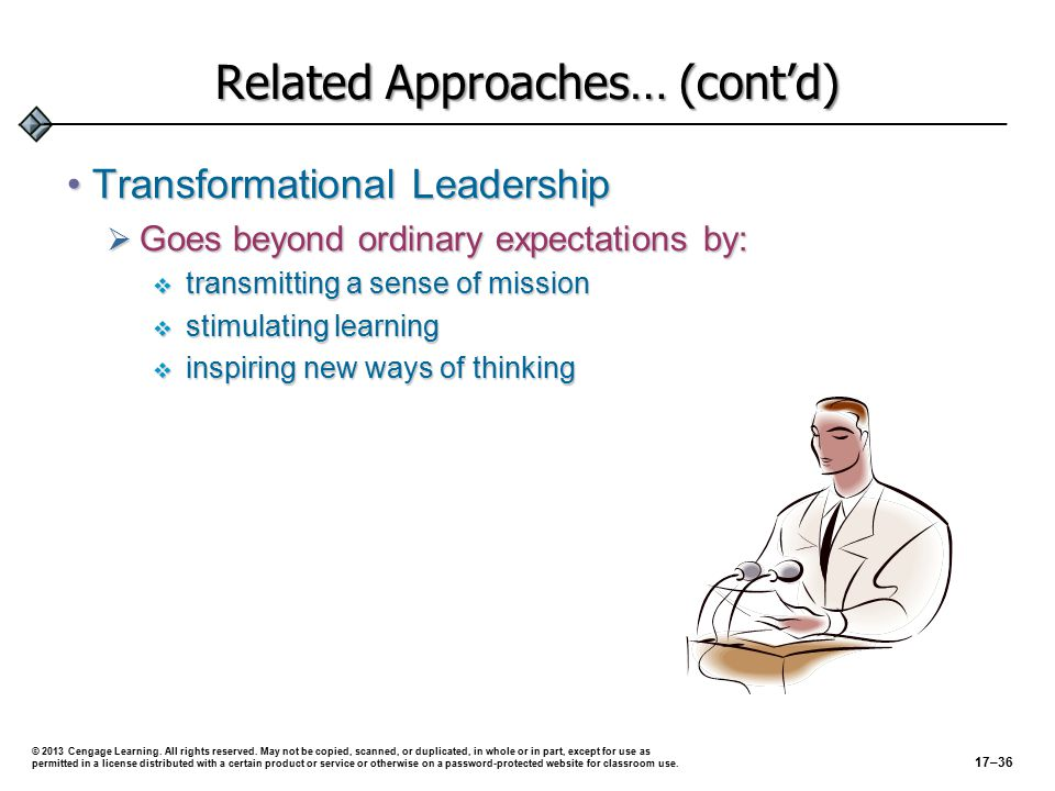 Keys to Successful Leadership Trusting in subordinates Keeping cool Being an expert Simplifying things Inviting dissent Encouraging risk Developing a vision Successful Leadership © 2013 Cengage Learning.