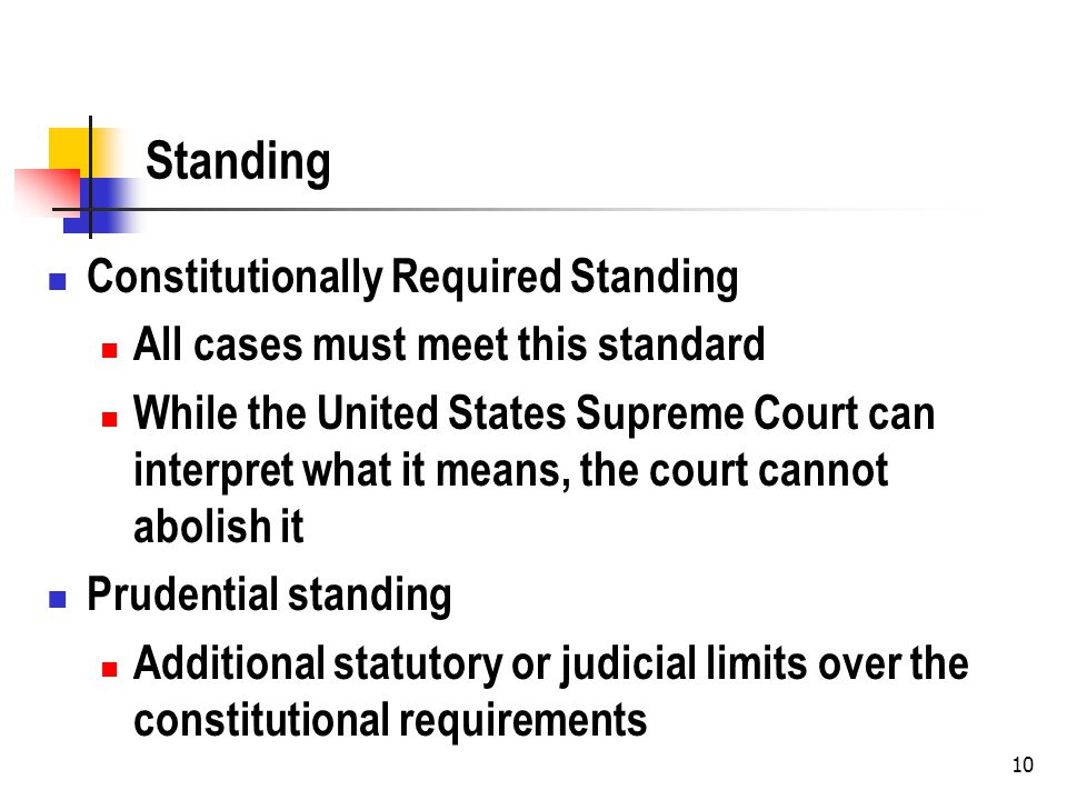 11 Constitutionally Required Standing Injury in fact http://biotech.law.lsu.edu/cases/adlaw/Lujan_v_ Defenders.htm#18 http://biotech.law.lsu.edu/cases/adlaw/Lujan_v_ Defenders.htm#18 Injury Causation Redressability