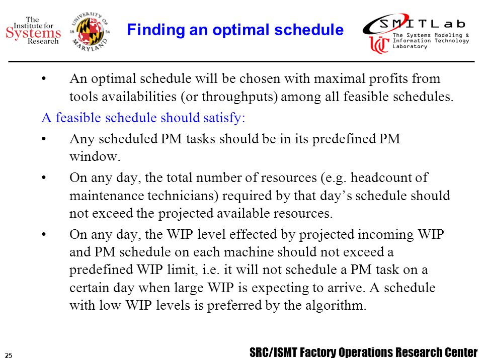 SRC/ISMT Factory Operations Research Center 26 A preliminary simulation study of comparison between a model-based schedule and a reference schedule using AutoSched AP has been conducted.