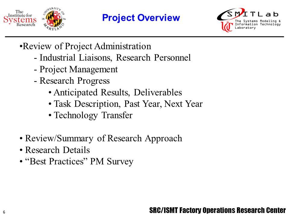 SRC/ISMT Factory Operations Research Center 7 Gurshaman S.