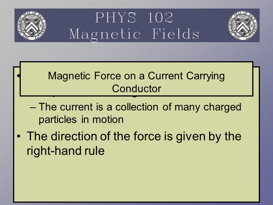 In this case, there is no current, so there is no force Therefore, the wire remains vertical B is into the page The current is up the page The force is to the left