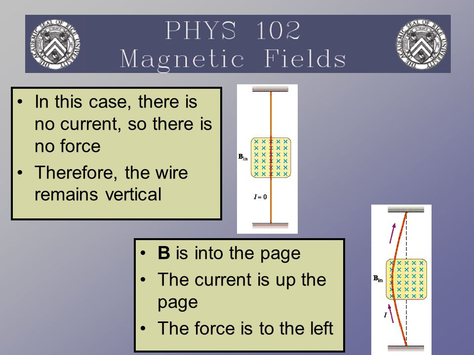 Force on a Wire The magnetic force is exerted on each moving charge in the wire  F 1 = q v d x B The total force is the product of the force on one charge with the number of charges  F = (q v d x B)nAL