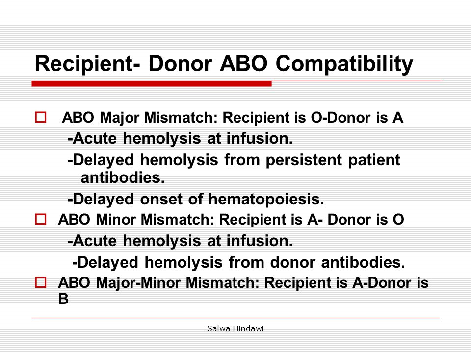 Salwa Hindawi Blood GroupOABAB OCompatibleMajor AMinorCompatibleMajor and minor Major BMinorMajor and minor CompatibleMajor ABMinor Compatible RECIPIENT ABO COMPATIBILITY DONOR