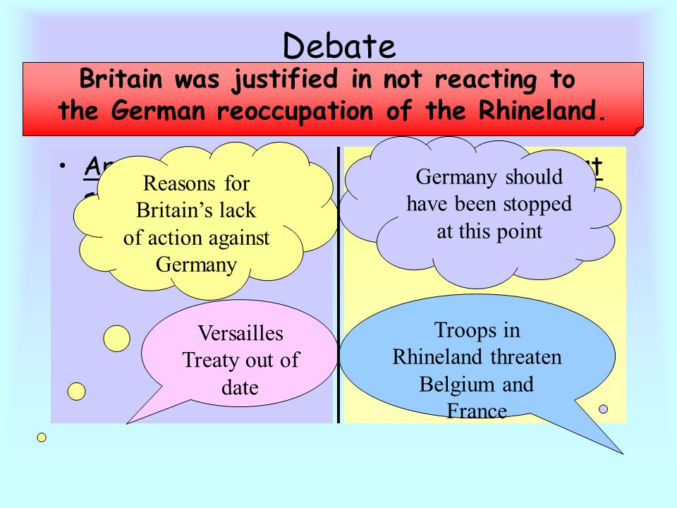Arguments for statement Reasons for Britain's lack of action against Germany Debate Arguments against statement Britain was justified in not reacting to the German reoccupation of the Rhineland.