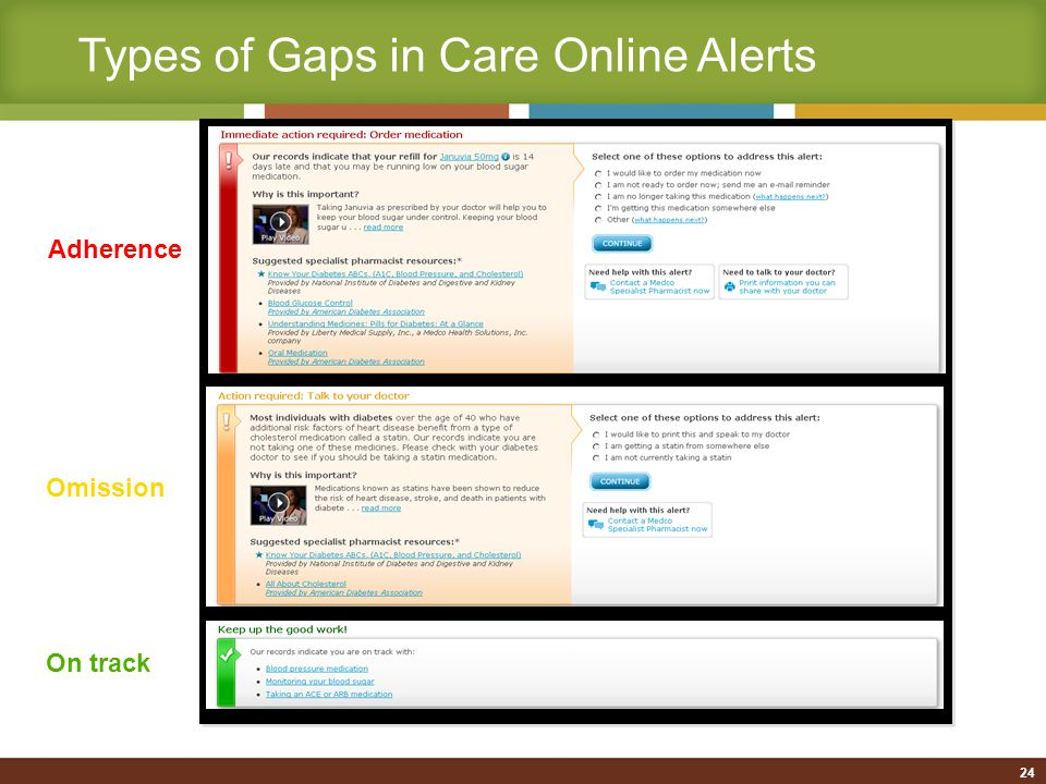 25 Close-up: Sample alert message Video clips relevant to each alert Access to e-mail Medco pharmacists Printable information to take to the doctor Ability for patients to self-close gaps as appropriate Links to additional resources Information about the alert and why it's important 25