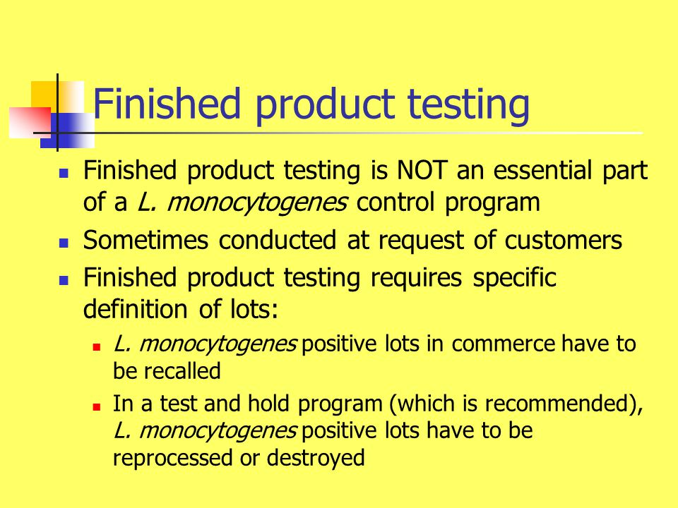 Environmental Listeria testing An essential part of each Listeria control program