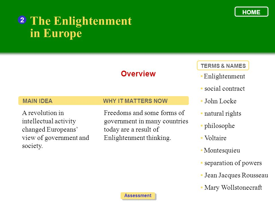 The Enlightenment in Europe 2 1.Look at the graphic to help organize your thoughts.