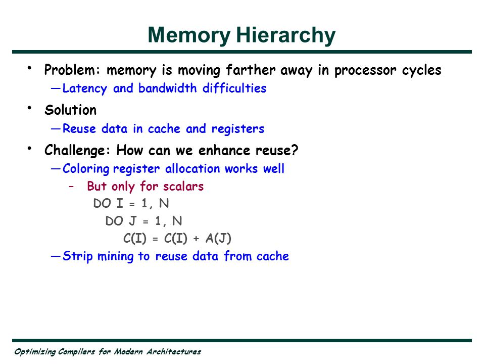 Optimizing Compilers for Modern Architectures Distributed Memory Memory packaged with processors —Message passing —Distributed shared memory SMP clusters —Shared memory on node, message passing off node What are the performance issues?