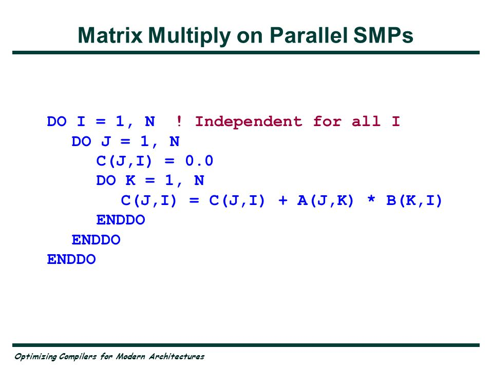 Optimizing Compilers for Modern Architectures Problems on a Parallel Machine Parallelism must be found at the outer loop level —But how do we know.