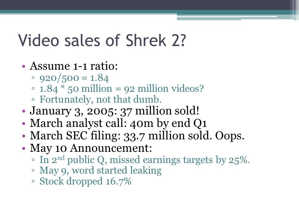 Lessons Learned Flooded market with DVDs Guaranteed Sales ▫Promised the retailer they would sell them, or else the retailer could return them ▫Didn't know how many would come back 5 years ago ▫Typical movie 30% of sales in first week ▫Animated movies even lower than that 2004/5 50-70% in first week ▫ Shrek 2: 12.1m in first 3 days ▫American Idol ending, had to vote in first week