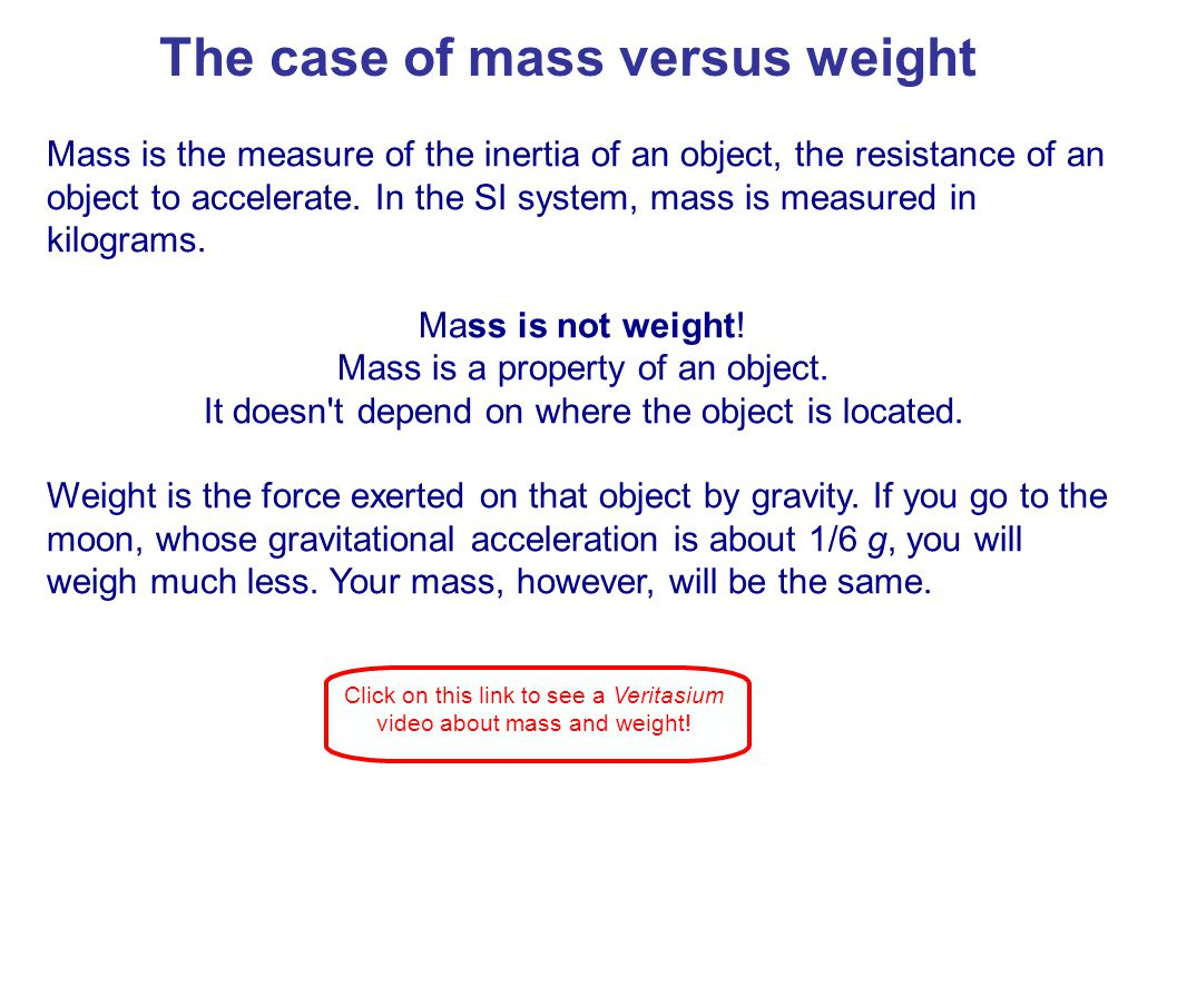 Weight is the force exerted on an object by gravity.
